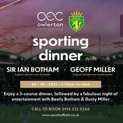 Sporting Dinner | The OEC Sheffield  | Wed 6th October 2021 Lineup