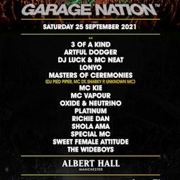 Garage Nation Tickets   Albert Hall Manchester    Sat 25th September 2021 Lineup