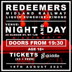 REDEEMERS Tickets   Night And Day Cafe Manchester    Wed 18th August 2021 Lineup
