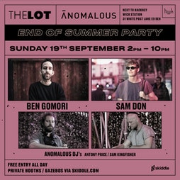 Anomalous with Sam Don + Ben Gomori (Free Entry) Tickets | HWK  THE LOT LONDON  | Sun 19th September 2021 Lineup