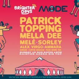 Brighter days presents Patrick Topping  Tickets | Rainton Arena Houghton-le-Spring  | Sun 15th August 2021 Lineup