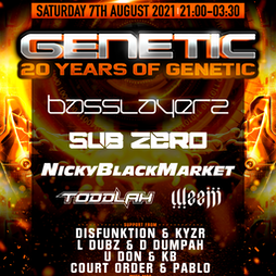 20 Years of Genetic - Basslayerz // SubZero // Nicky Blackmarket Tickets | Boxed Bar And Music Venue  Leicester  | Sat 7th August 2021 Lineup